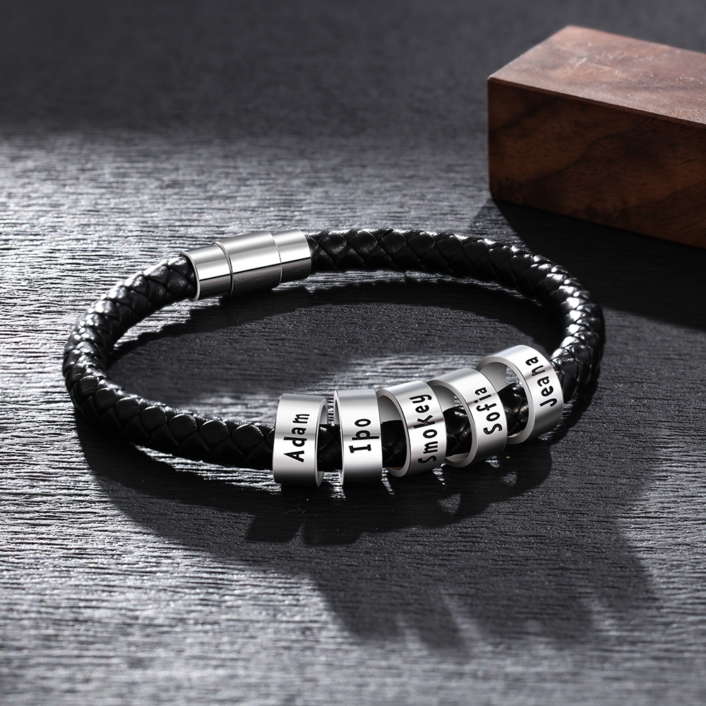 Personalized Engraved Name ID Bracelets For Men Custom Beads Braid Rope Bracelets & Bangles With Magnetic Clasp Gifts For Him