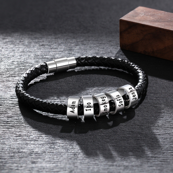 personalized engraved name braid rope bracelet for men with stainless steel custom beads wrap bracelets Personalized Engraved Name ID Bracelets For Men Custom Beads Braid Rope Bracelets & Bangles with Magnetic Clasp Gifts for Him