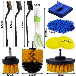 Image 3 - Juego de cepillo para detalles de limpieza de coche, limpiador eléctrico, taladro, orificios de aire de cuero, Herramientas de limpieza de llanta, polvo y suciedad
