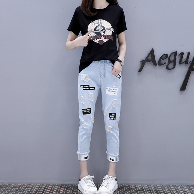 2021 Summer 2 Pieces Jeans Suits Women  Printing Hot Drilling T-Shirts + Calf-Length Denim Ripped Pants Sets Tracksuit Set 3