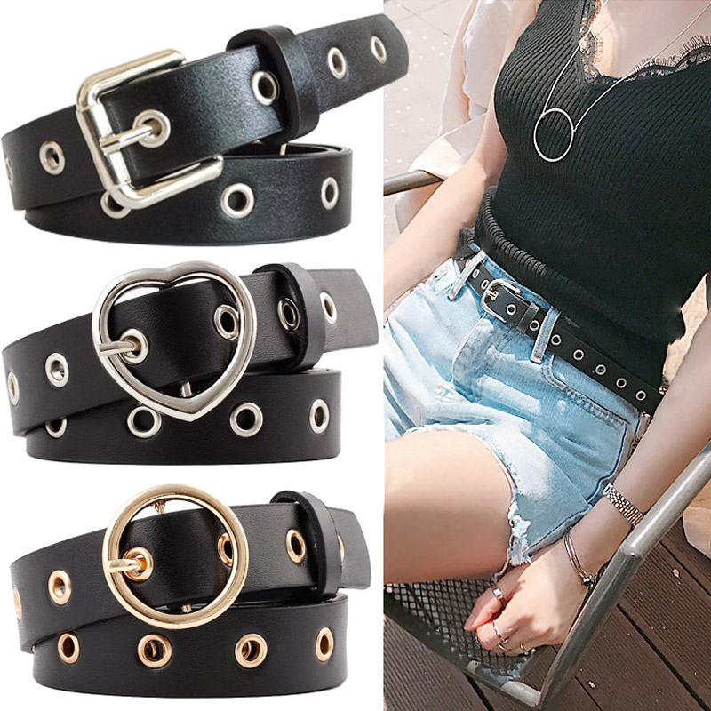 15 Style Hot Sale Women Leather Belt Round Square Heart Alloy Pin Buckle High Quality Cowboy Pants Hollow Belt Fashion Waistband