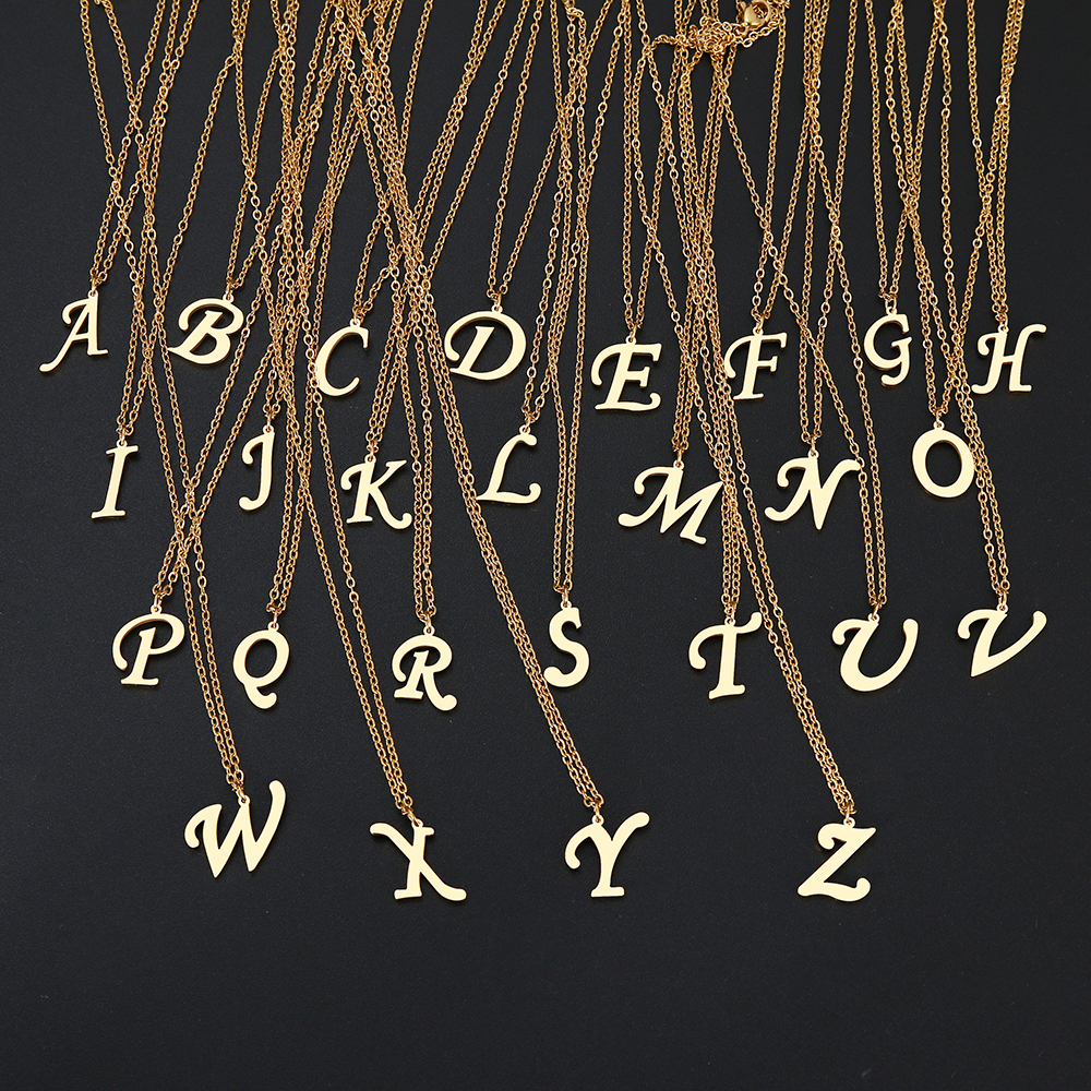 DOTIFI For Women A Z Alphabet Letter Pendant Necklaces Personalization Stainless Steel Necklace Glamour Jewelry