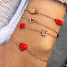Multi Layer Red Lips Heart Letters Chain Bracelets Sets For Girls Woman Fashion Jewelry Gifts Summer Holiday-YSF