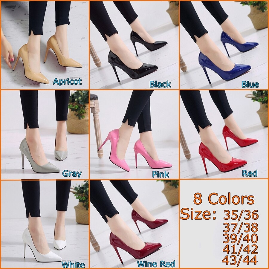 11cm Big Size High Heels Shoes Soild Women Pu Pointy Toe Pumps High Heels Shoes Sexy Woman Plus Size 35-44 for 8 Colors