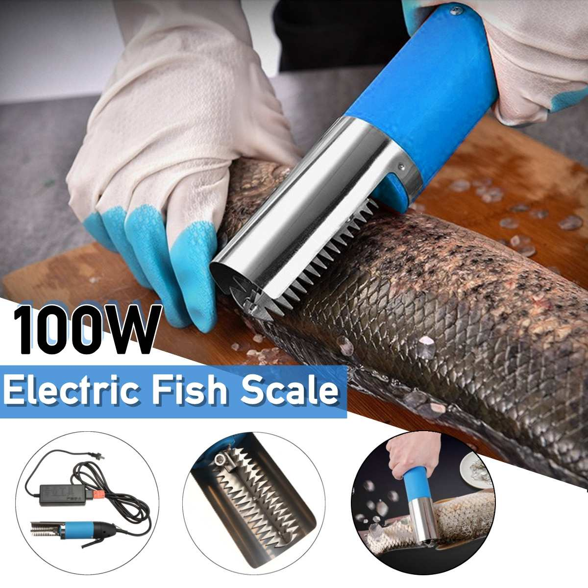 100W Waterproof Electric Fish Scale Scraper Fishing Scalers Clean Easy Fish Stripper Remover Cleaner Tool Charging Adapter