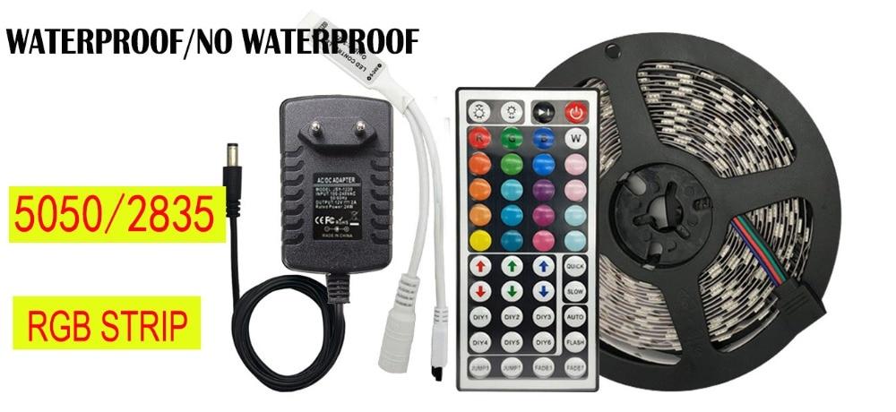 Ha972b1fe704c45e8bd54756443e85b1cX 5 meter 300Leds Non-waterproof RGB Led Strip Light 2835 DC12V 60Leds/M Flexible Lighting Ribbon Tape +24key Controller fita led