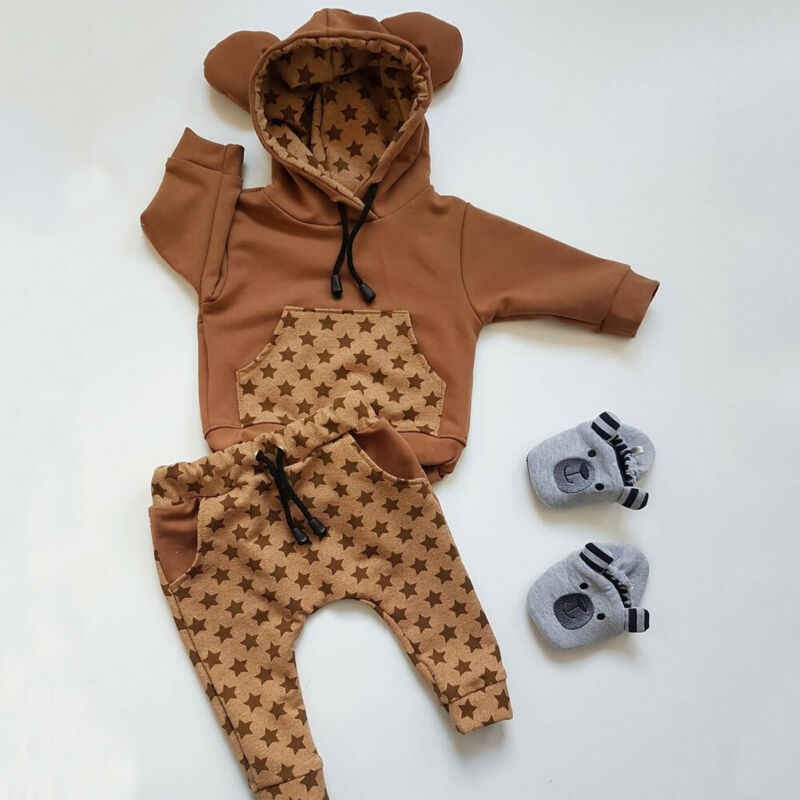 0-24M Baby Boy Girl Infant Clothes Sets Autumn Winter Print Long Sleeve Hooded Tops+Pants 2PCS Set Outfits
