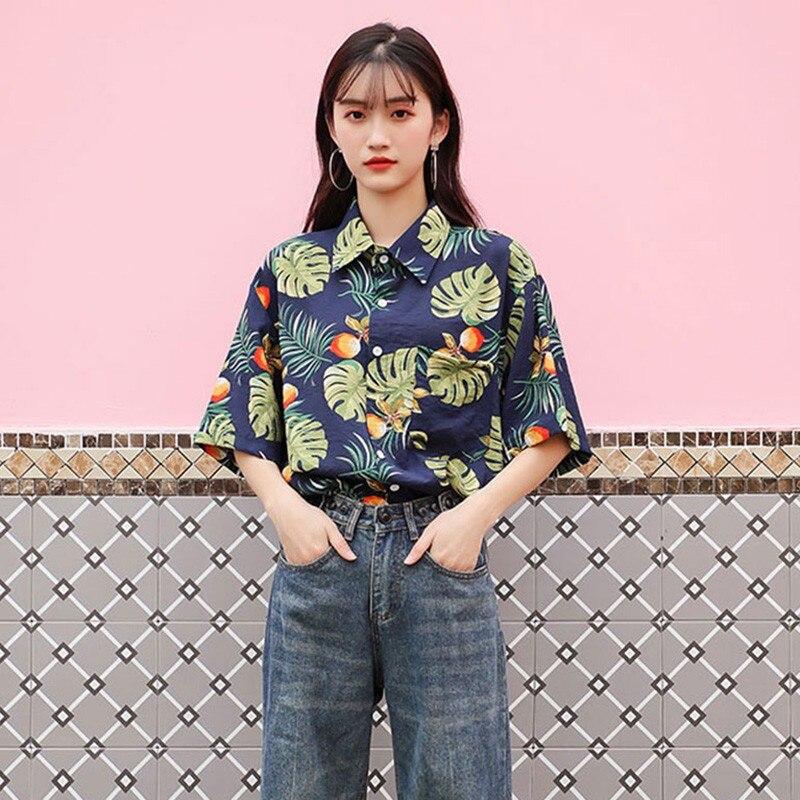 Loose Hawaiian Wind Shirt Women\'s Couple Fashion Print Lapel Short Sleeve Loose Button Shirt