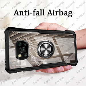 Auroras For Xiaomi Poco X3 NFC Case Official Original Shockproof Airbag Clear With Ring Soft Frame Cover For Pocophone X3 Case