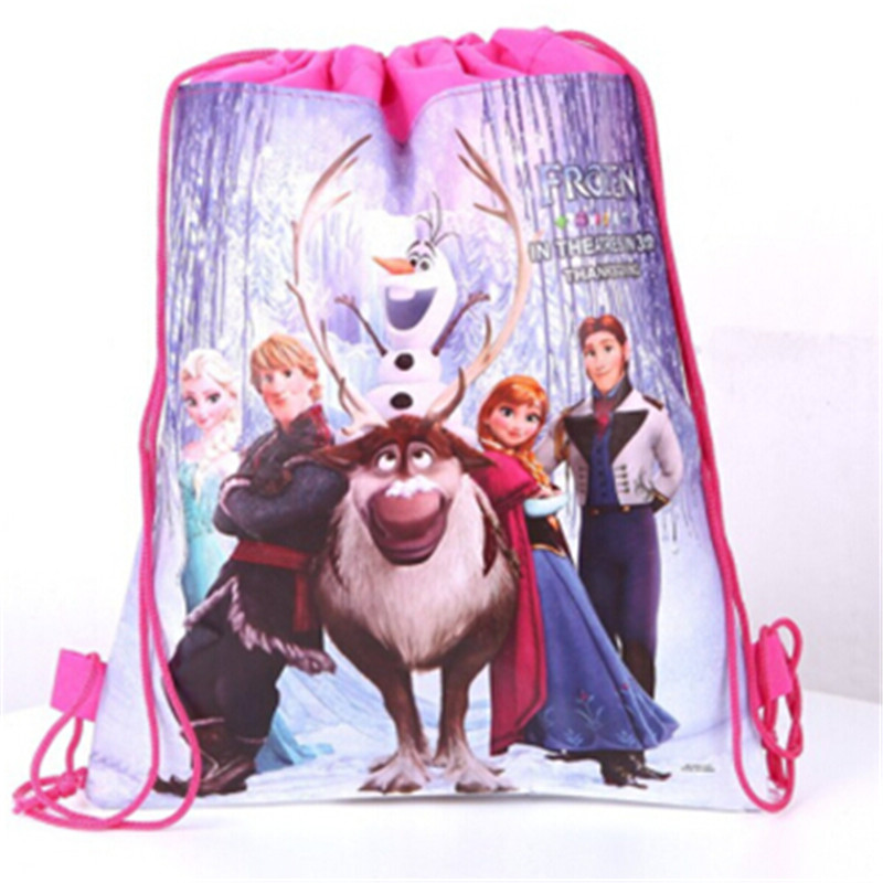 Disney Princess Frozen Elsa Anna Theme  Non-woven Bag Fabric Backpack Child Travel School Bag Drawstring Decoration Gift Bag 1PC