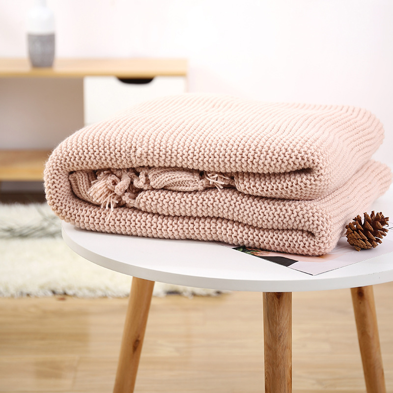 American-Style Handmade Knitted Thread Blanket Sofa Plaid Throw Knitting Hollow Out Tassels Blanket Solid Color Shawl 125*180cm