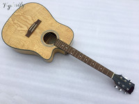 ashwood top acoustic electric guitar 41 inch cutway zebra wood back and side acoustic guitar high gloss