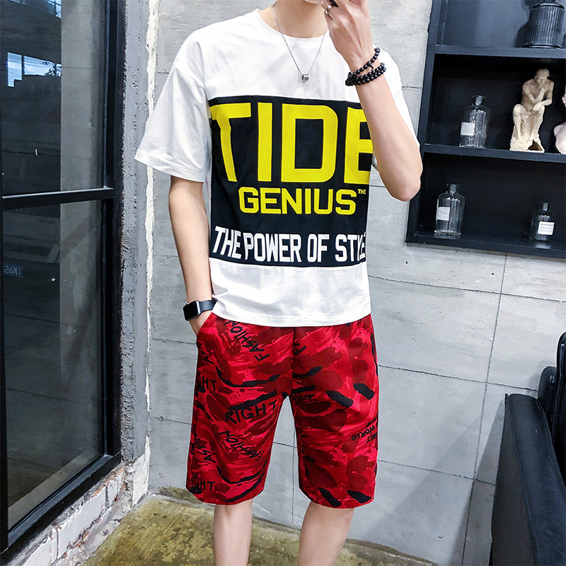 Spring And Summer Trend Korean-style MEN'S Suit MEN'S Short-sleeved T-shirt Casual Summer A Clothes BOY'S Handsome A Set
