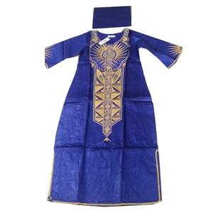 Image 5 - MD 2020 Dashiki Váy Đầm Cho Nữ Châu Phi Bazin Riche Áo Dài Với Headwrap Plus Size Đầm Thêu Châu Phi Nữ Quần Áo