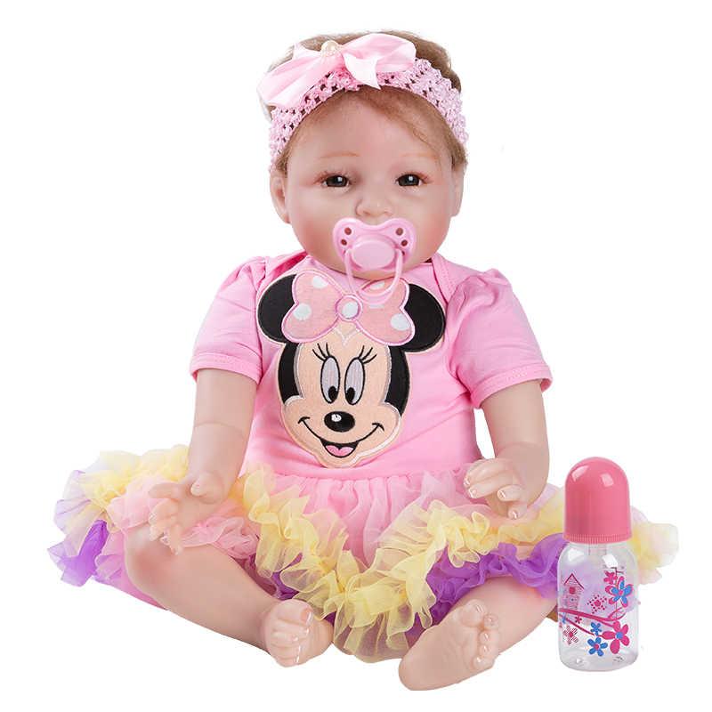 Gekleurde Baby Pop Speelgoed Meisje 22 Inch Reborn Vinyl Meisjes Poppen Kinderen Hoge Hak Pak Zachte Siliconen 55 cm boneca pasgeboren