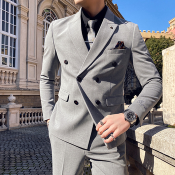 British 2Piece Men's Suit New Solid Wedding Suits Double-breasted Business Formal Suit Male Slim Fit Blazers Pants 3XL-S