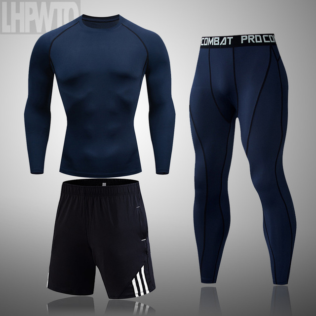 Men's Sportswear Compression Suits Training Clothing Set Training Jogging Sports thermal underwear Running Workout Gym Tights 3