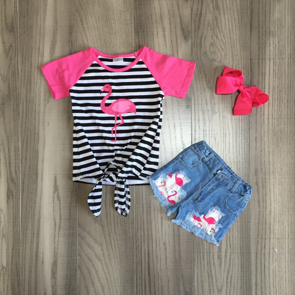 Baby Girls Summer Jeans Outfits Girl Stripe Flamingo Shirts Denim Shorts Kids Outfits With Bow