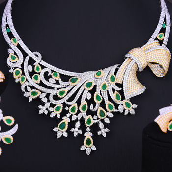 GODKI Nigerian Dubai Bridal Wedding Luxury 4 PCS Jewelry Set Necklace Dangle Earrings Bracelet Resizable Ring Bridal Wedding Set 1
