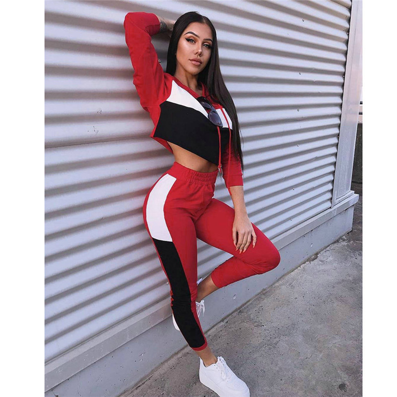 Fashion Splicing Hooded Crop Top Tshirts & Pants Sports Two Piece Set Women Slim Casual 2 Piece Tracksuit Outfits Fall Clothes