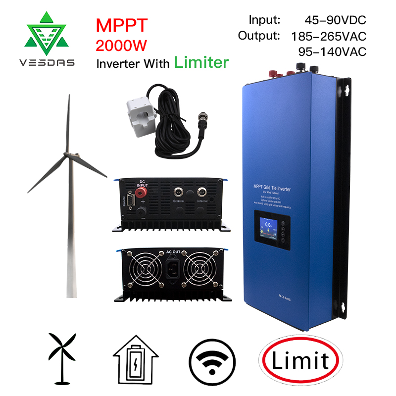 2000W MPPT Wind Power Grid Tie Inverter Pure Sine Wave With Limiter Sensor Dump Load 45-90VDC 230V For Wind Turbine Generator
