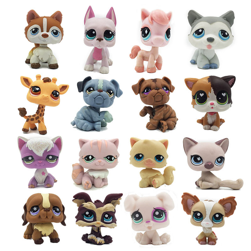rare pet shop lps toy standing short hair cat original kitten husky puppy dog fox littlest animal collection free shipping