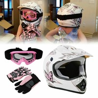 DOT Youth Kids Helmet Pink Butterfly Red Spider Net Dirt Bike ATV MX Helmets full face w/Goggles+gloves Cycling casco moto kask 1