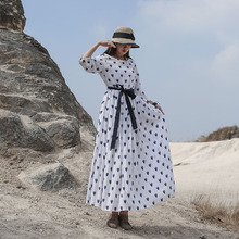 Spring 2020 New Dot Print Long Dress Chinese Style Retro Round Neck Seven Point Sleeve Stitching Lacing Sashes Loose Dress Women
