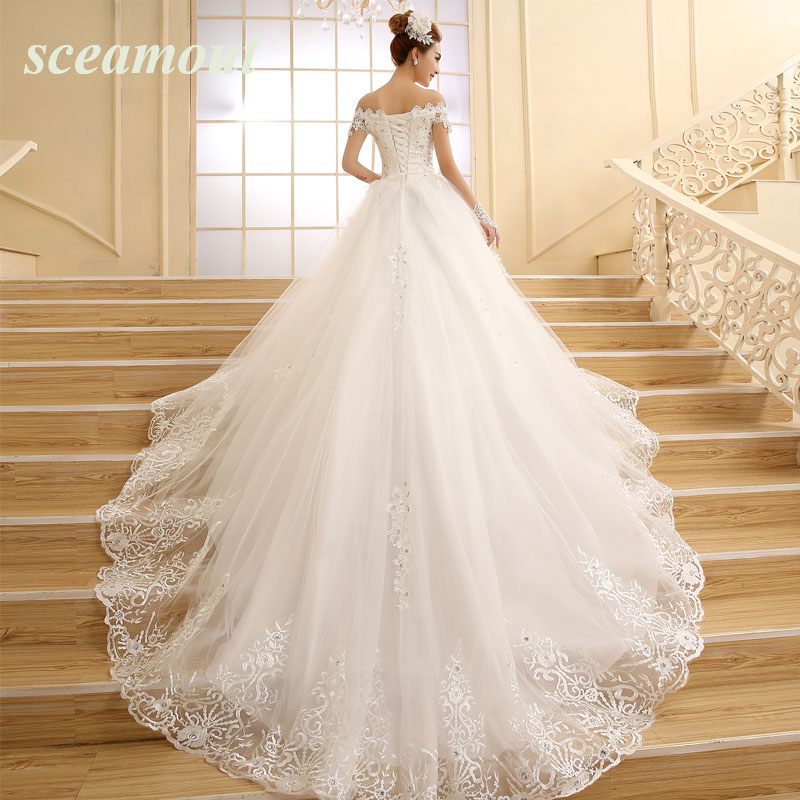 Cathedral Tail Beaded Luxuries Ball Wedding Dresses Off Shoulder Short Sleeve Lace Appliques Vestido De Noiva Women Wedding Gown