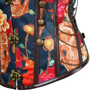 Image 4 - Wechery 꽃 인쇄 코르셋 빈티지 Bustier 탑 체인 장식 뼈 Corselet 파티 쇼 코스프레 의상