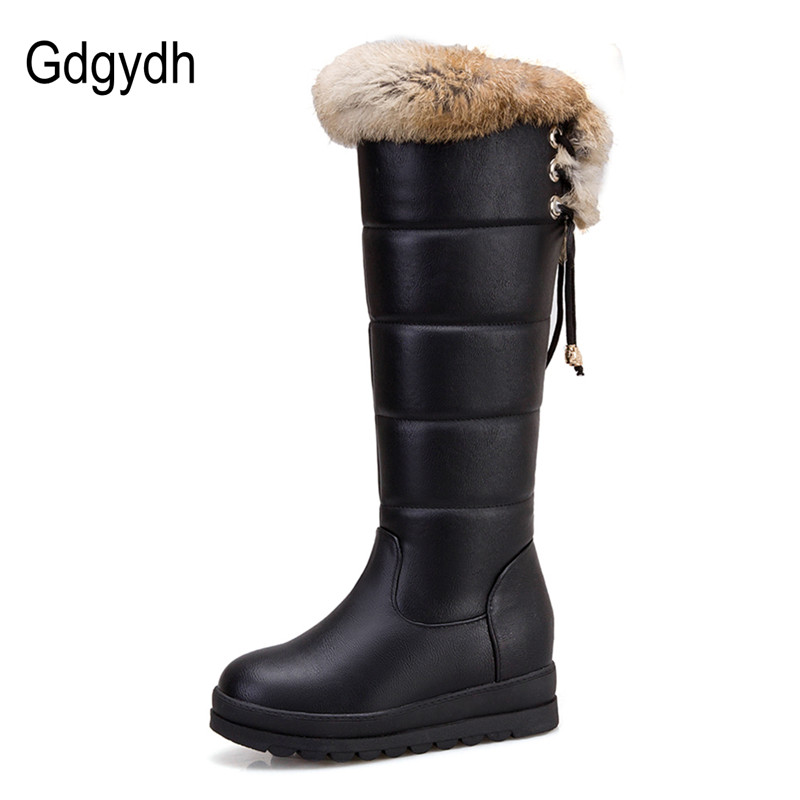 Gdgydh Winter Women Snow Boots Warm Plush Flat Heel Winter Boots Fur Natural Female Over The Knee Boots Waterproof Plus Size 43