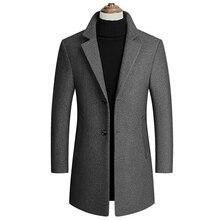 Hot Tide Winter Wool Jacket Men Long Coat Single Breasted Pe