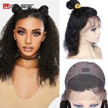 Perruque Lace Front wig Remy brésilienne sans colle-Wignee, perruque Bob Hair naturelle ondulée avec Baby Hair, pour femmes noires