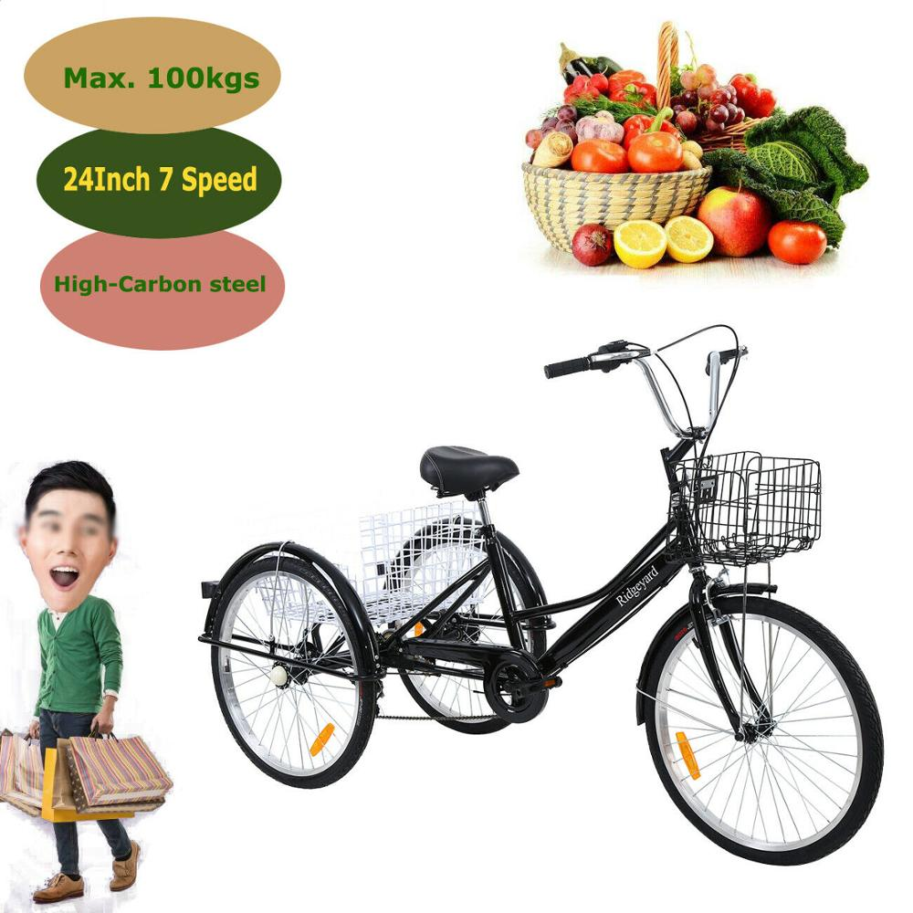 Yonntech 24inch Adult 3-Wheel 7 Speed Tricycle Shopping Bicycle Bike W/ Basket
