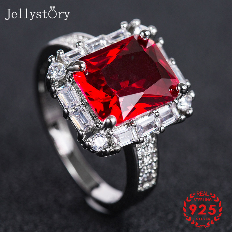 Jellystory Classic Silver 925 Jewellery Rings with Rectangle Shape Ruby Amethyst Gemstones Ring for Women Weddings Party Gifts