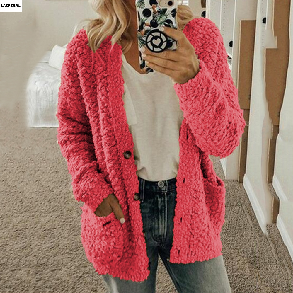 LASPERAL Fashion Cardigan For Women Casual Long Sleeve Button Solid Pocket Cardigan Tops Blouse Coat Warm Cardigan Tor Women