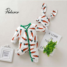 Spring Cartoon Baby Girls Rompers Long Sleeve Carrot Baby Girls Jumpsuit Rabbit Ear Hat Hooded Baby Girls Clothes 0-24 Months cheap Imcute Fashion COTTON Broadcloth REGULAR O-Neck Unisex Fits smaller than usual Please check this store s sizing info Cartoon Baby Clothing