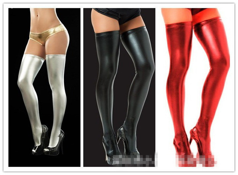 Sexy Latex Wet Look Stockings Women Black PVC Pole Dance Stockings Faux Patent Leather Lady's Clubwear Micro Mini Stocking
