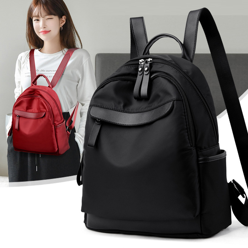 LWH Color : Black MCLB Pure Black Soft Leather School Ladies Vertical Square Multilayer Diagonal Lightweight Sports Travel Large Capacity Backpack 28/×14/×32CM