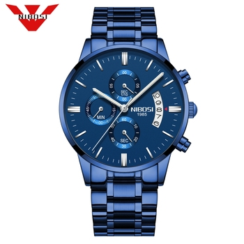 NIBOSI Watch Men Fashion Sports Quartz Full Steel Business Mens Watches Top Brand Luxury Waterproof Watches Relogio Masculino image