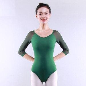 Image 5 - Adult Gymnastics Leotard Black Mesh Ballet Leotards for Women Ballet Dances Long Sleeve Justaucorps Dance Bodysuit