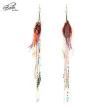 Badu White Feather Earring Long Chain Tassel Vintage Tribe Style Earrings for Women Bohemian Jewelry Holiday Wholesale