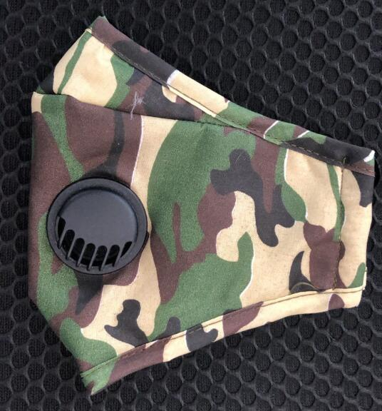 Fashion Camouflage Printed Face Mask For Women Protective PM2.5 Dust Mouth Mask Washable Reusable Breathe-valve Masks