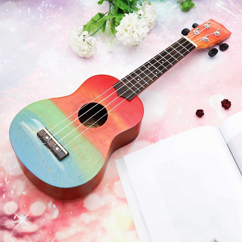 Ukulele Hand-Painted Combo 21 Black Soprano 4 Strings Uke Bass Stringed Musical Instrument Perfect for Beginners