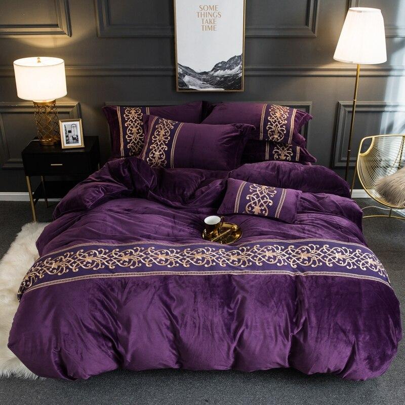 Flanela de veludo macio quente capa de edredão conjunto com chique bordado rendas rainha rei tamanho 4 pçs conjunto cama com cabido/plana lençóis - 4