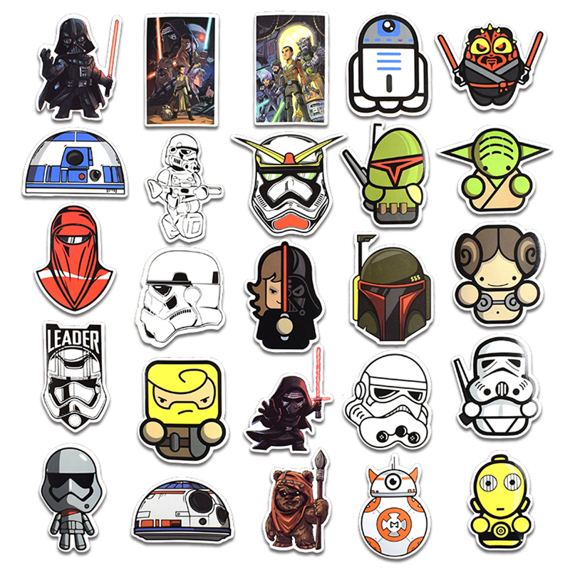 Image 3 - New 50Pcs Star Wars Stickers For Kids DIY Creative Graffiti Sticker For Laptop Guitar Fridge Skateboard Luggage Car Doodle Decal-in Stickers from Toys & Hobbies