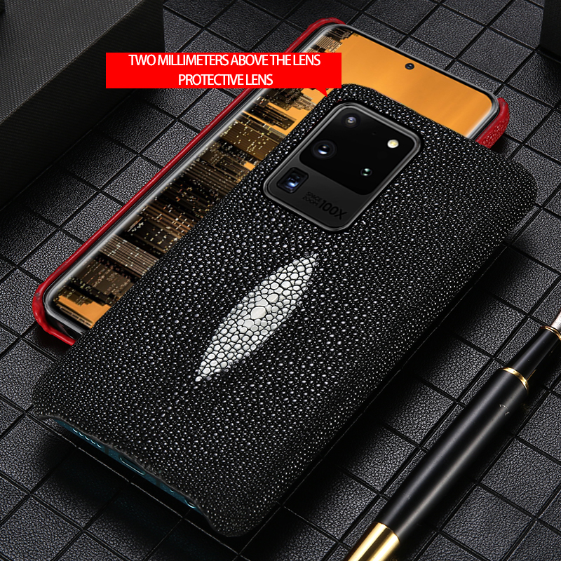 LANGSIDI Leather Case For Samsung  S20 Ultra Plus A50 A30 A70 S10e Genuine Stingray Cover For Galaxy Note 10 Plus A7 A8 2018 A9