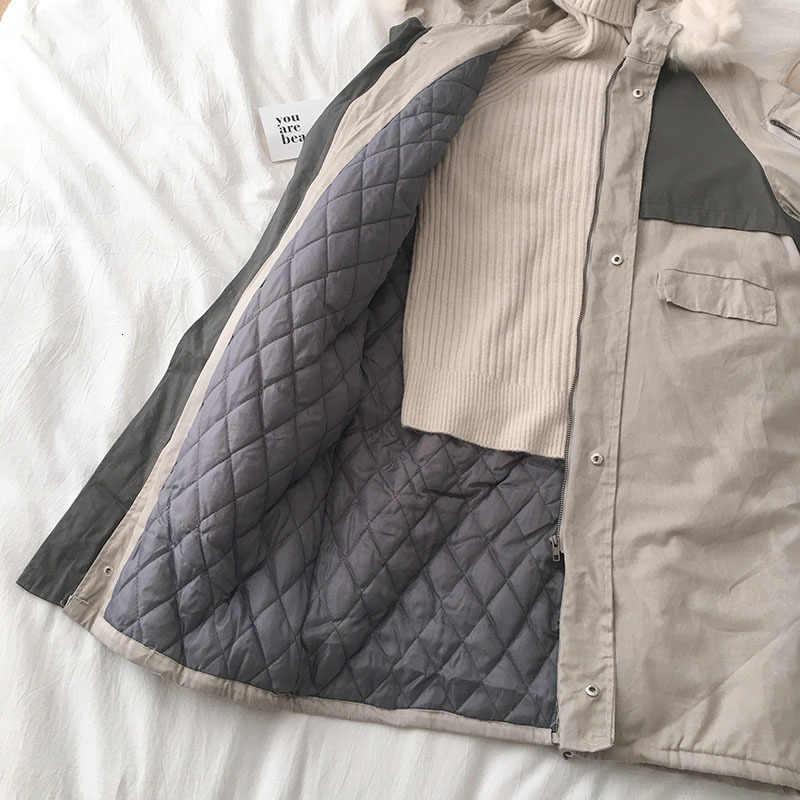 2019 女性の冬のジャケット大毛皮付き新着女性ロング冬コートパーカー毛皮の裏地