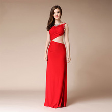 Sexy Beaded Evening Dress Long Red Formal Women Elegant Waistless High Split Fashion Mermaid Party Backless