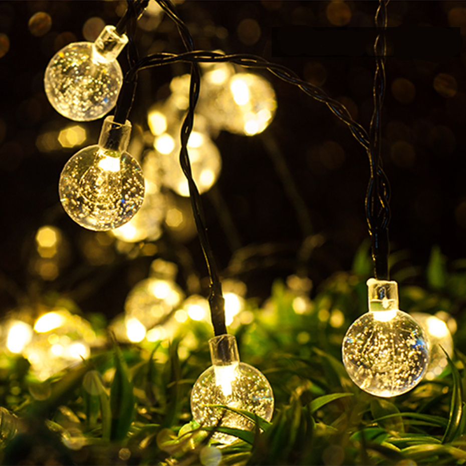 Led Solar Garden Light Outdoor 6M 30 Crystall Ball Bulbs LED String Fairy Lights Solar Lamp Home Party Decoration Light Chain